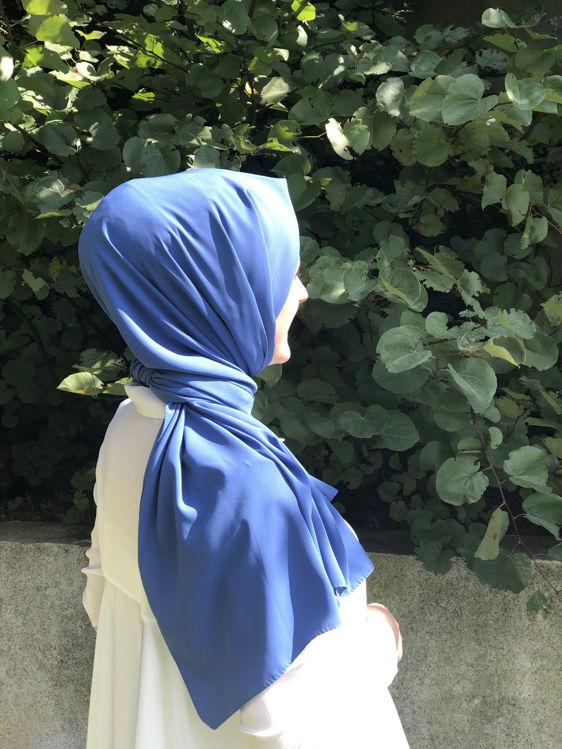 Koyu Mavi Medine İpeği Şal